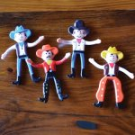 Bendable Cowboy Figurines - 2.49 each (Blue, Orange, Black or Yellow)